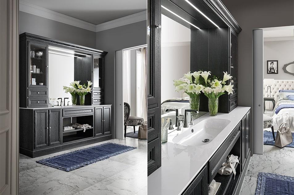 Arredamento da bagno con elegante finitura decapé Nero e piano in Marmoresina Bianco lucido