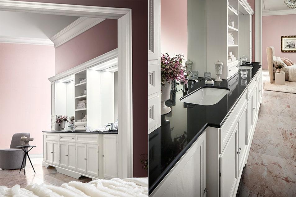 Arredamento da bagno con piano in Agglomerato Nero T590, con lavabo bianco in contrasto