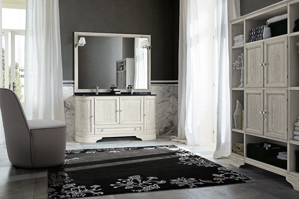 Arredamento da bagno classico Cerasa, con doppio lavabo in ceramica Idea