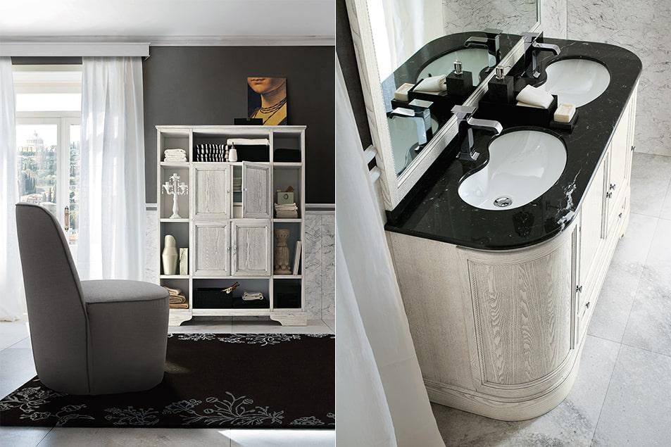 Doppio lavabo in ceramica Idea con grande specchio. Arredamento da bagno classico Cerasa