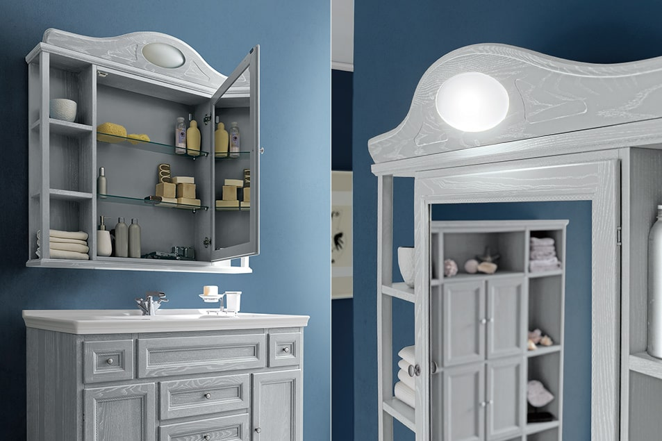 Paestum composizione di arredo country chic per un bagno classico e romantico, lavabo consolle Melody