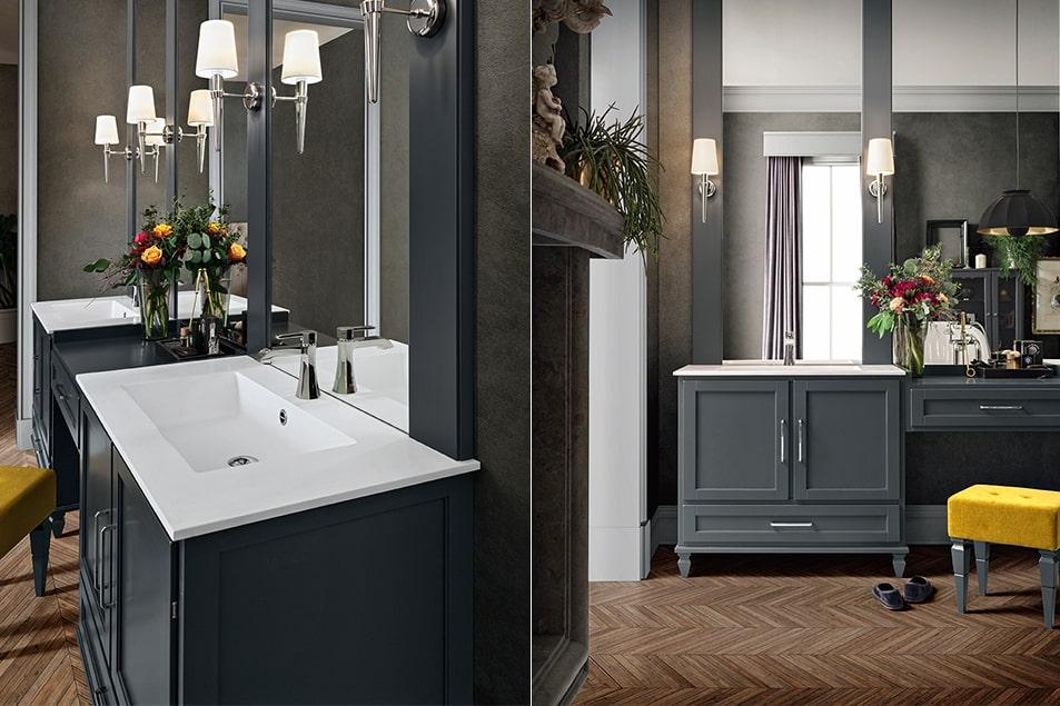 Mobili bagno Cerasa. Due lavabi integrati su piano in Marmoresina Bianco, separati da una pratica consolle con sgabello.