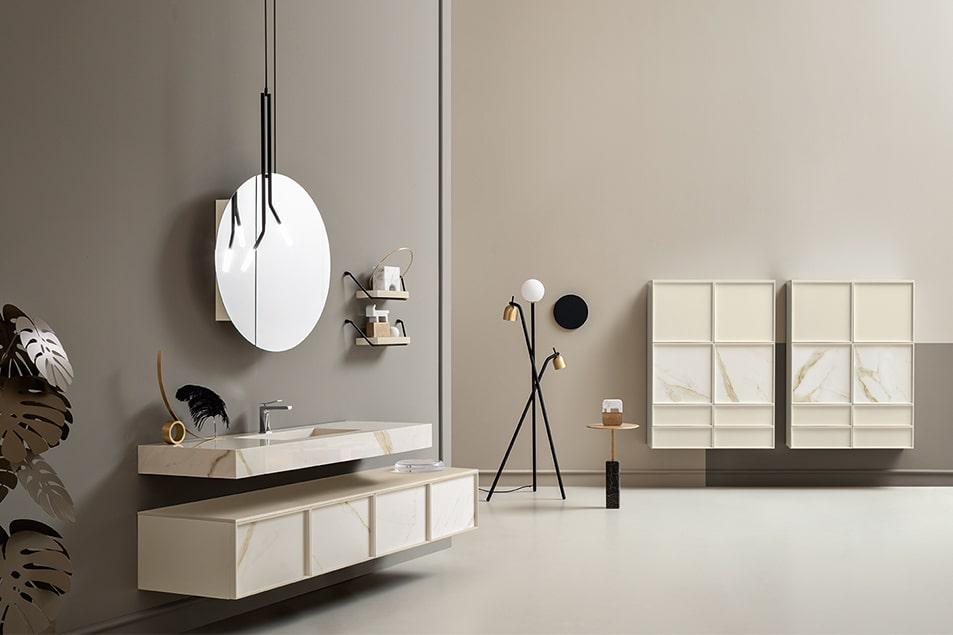 Cerasa arredo bagno composizione Icone Des con lavabo su mensolone sospeso