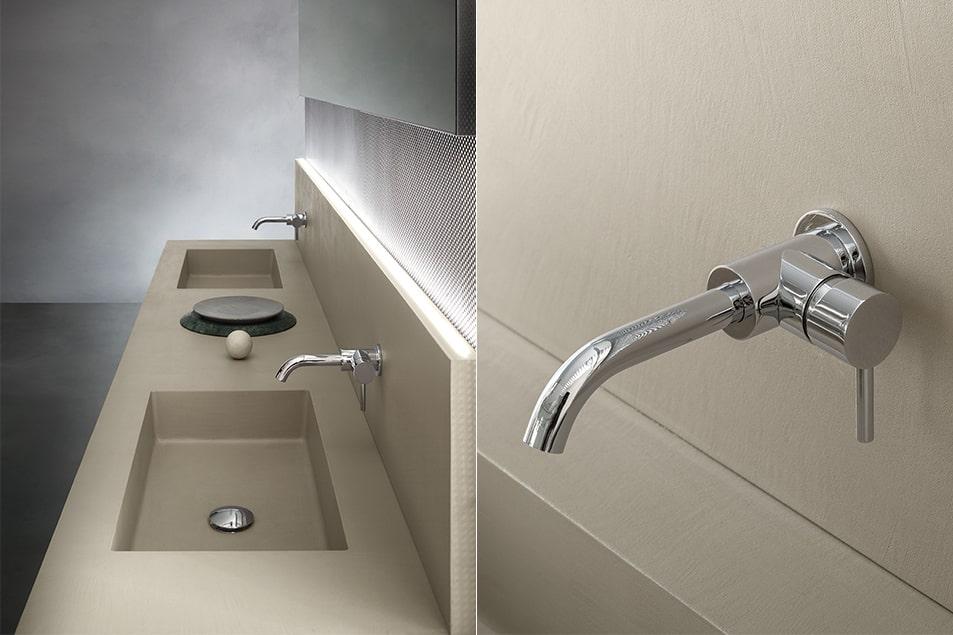 Doppio lavabo integrato su piano in ecomalta