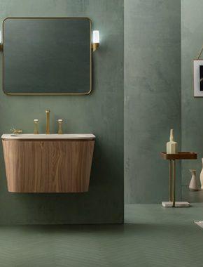 Base lavabo conica sospesa in noce canaletto con lavabo Eva
