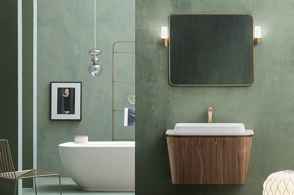 Base lavabo conica sospesa in Noce Canaletto. Piano e lavabo da appoggio Kama in Tecnoril Bianco opaco