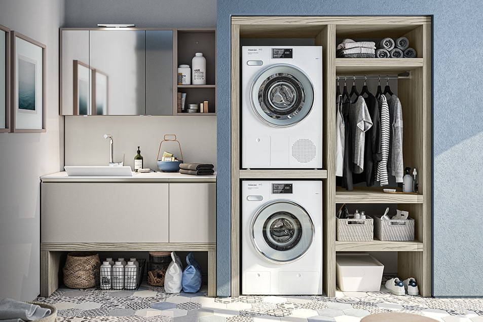 Regola, Cerasa ha ideato l'arredamento salvaspazio per la zona lavanderia