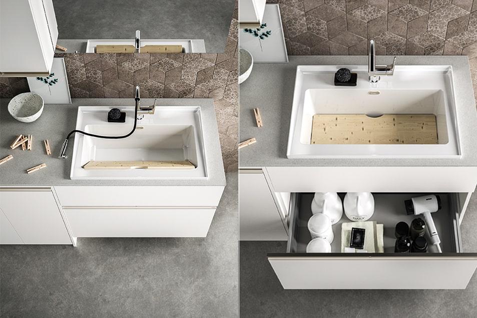 Regola, lavabo e cassettiera pensati per la zona lavanderia