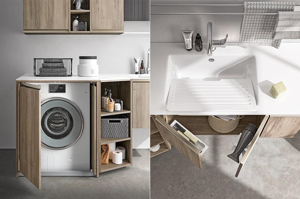 Regola, lavabo e mobile lavatrice per la zona lavanderia