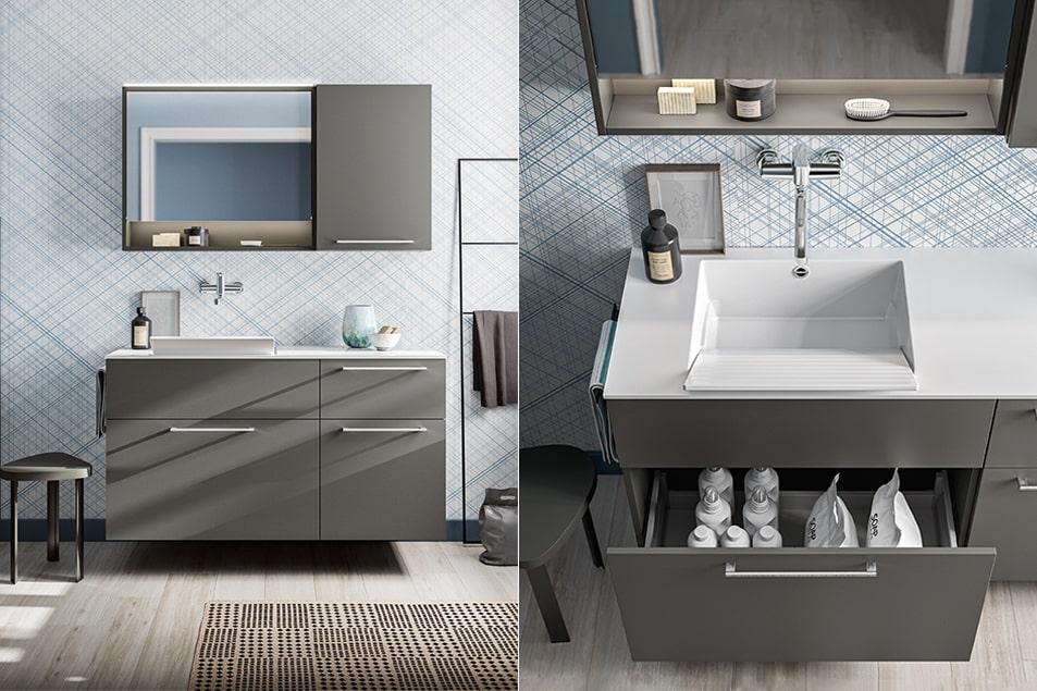 Arredamento per la lavanderia, lavabo e cassettiera salvaspazio