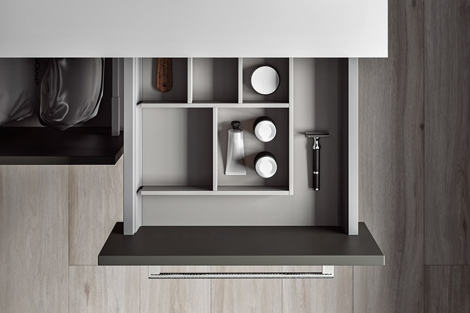 Arredamento per la lavanderia, ripiani personalizzabili e portaphon