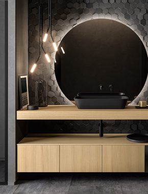 Lavabo Deimos nero opaco su mensolone in rovere chiaro