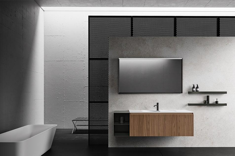 Piano in Deimos bianco opaco con vasca lavabo integrata e miscelatore Amy