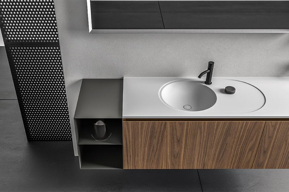 Base lavabo sospesa in Noce Canaletto con apertura a gola