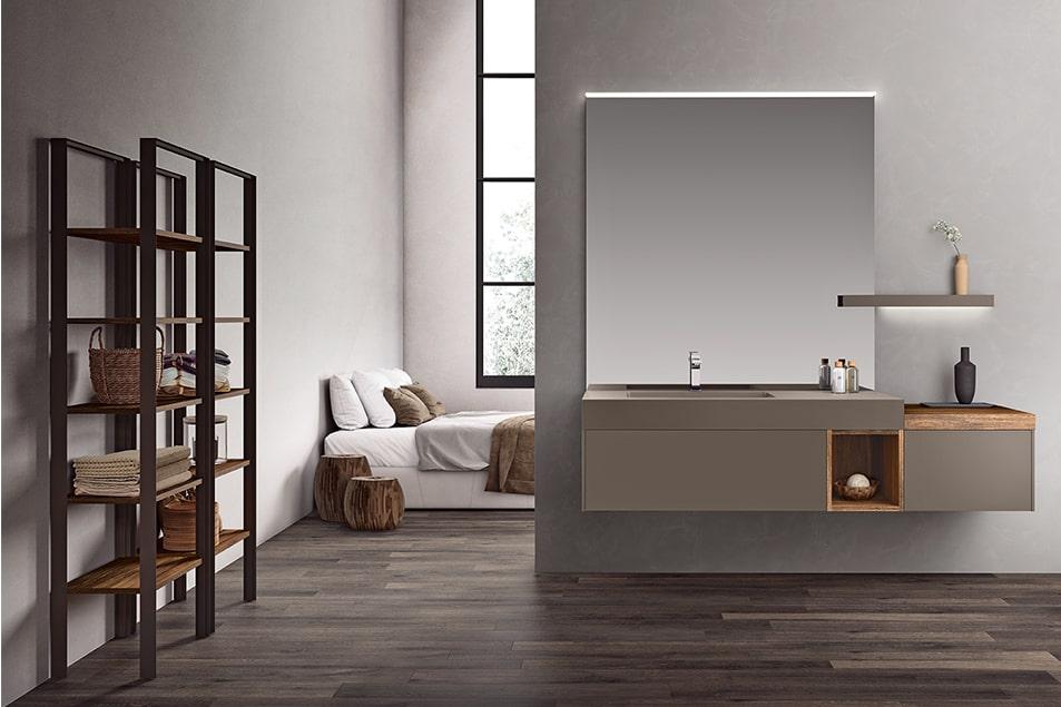 Lavabo sospeso, cassettone con apertura push pull, grande specchio, con lampada superiore