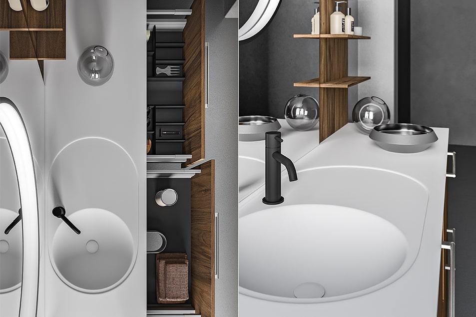 Lavabo con vasca integrata Keilos. Miscelatore Simply nero opaco. Boiserie personalizzata con mensoline portaoggetti.