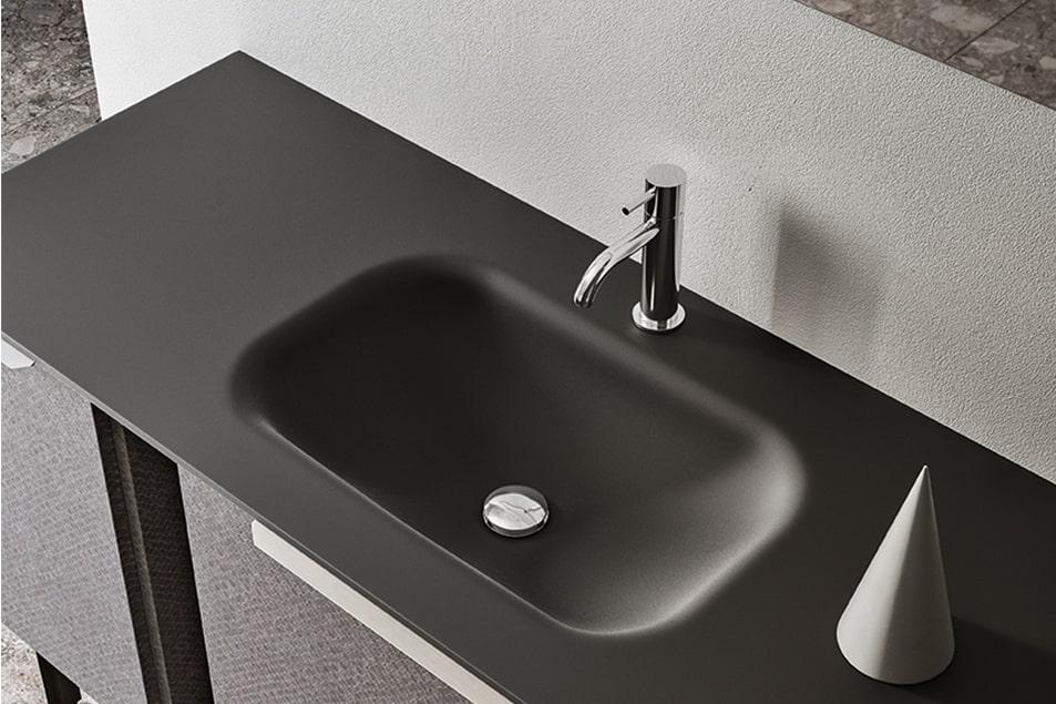 Piano lavabo in cristallo sabbiato Nero con vasca integrata