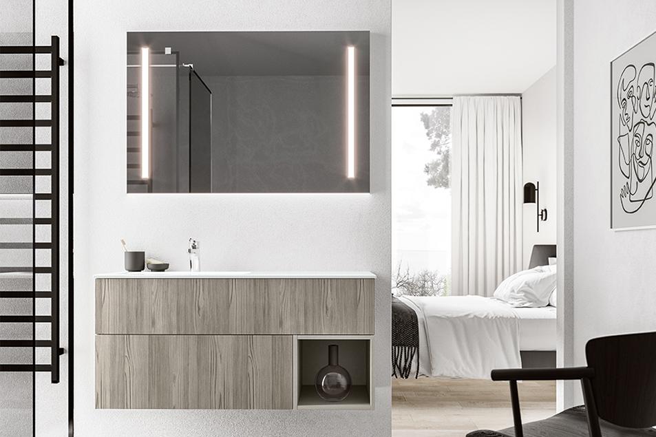 Base sospesa per il mobile bagno con cassettoni in nobilitato Cosmopolitan ed elemento a giorno Grigio Fumo.