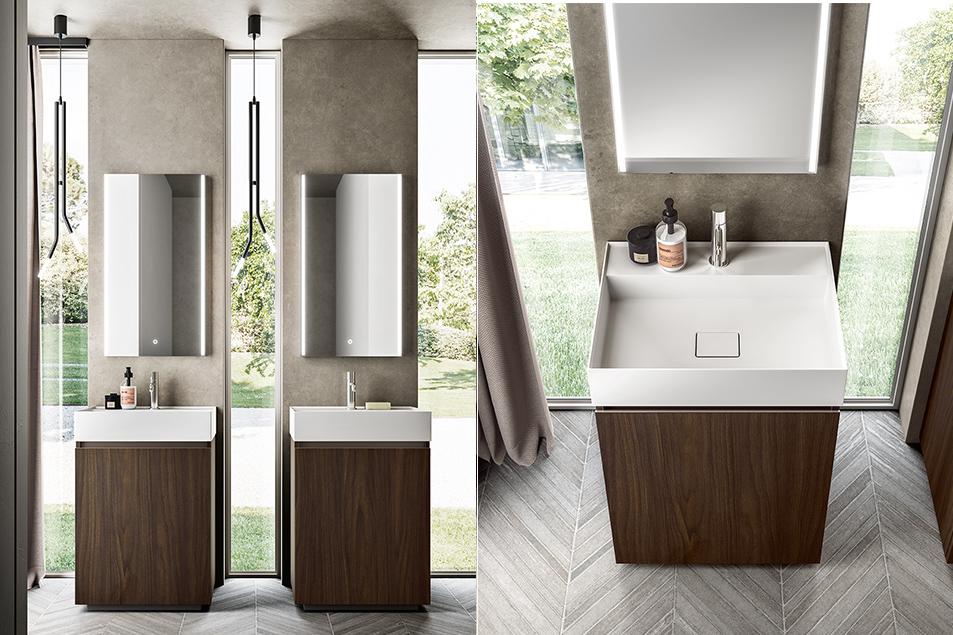 Misura, arredo bagno con Lavabo consolle Unica in Solid Surface Bianco opaco.
