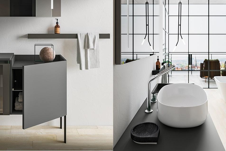 Lavabo ad appoggio Linea 55 in ceramica bianca e miscelatore Mirage. Lampada Twins a soffitto con fusto in metallo Nero opaco