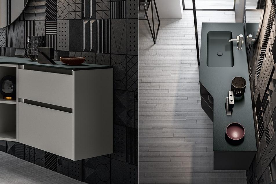 Piano Solytex® Magma con effetto pietra a spacco Antracite opaco e lavabo integrato. Miscelatore Amy.