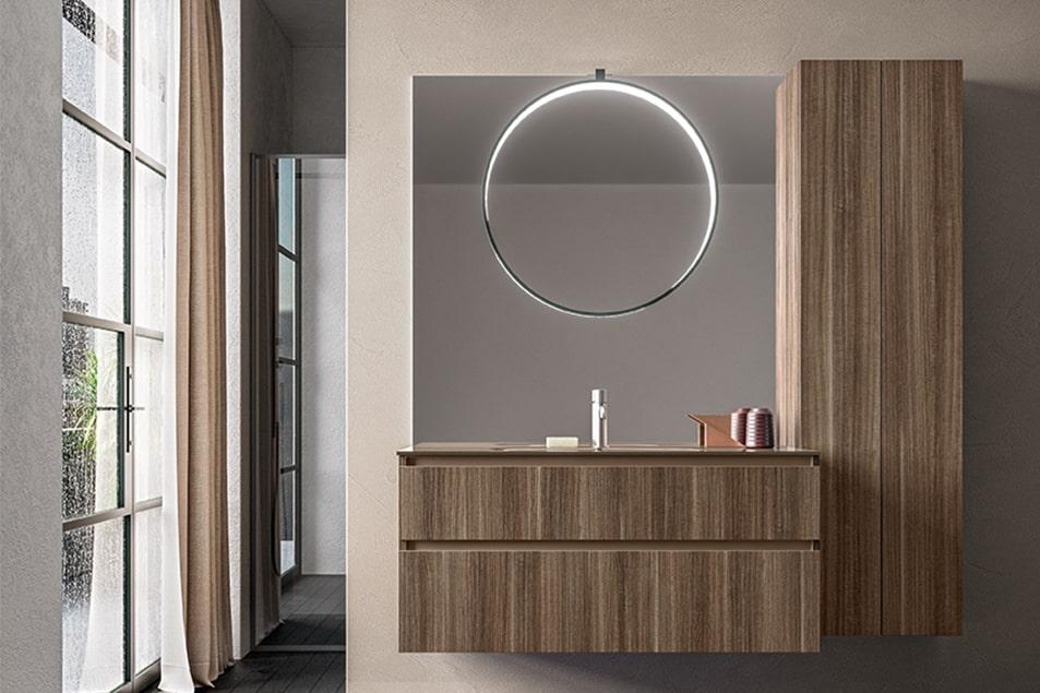 Grande specchio con lampada Eclissi illuminata a LED in tutta la circonferenza