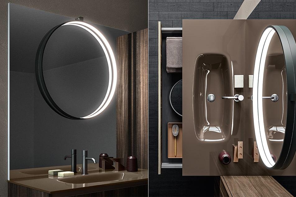 Segno, specchio con lampada Eclissi illuminata a LED in tutta la circonferenza