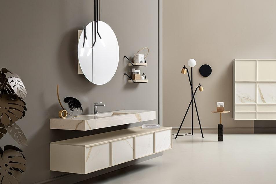 Specchio da bagno tondo contenitore linea Des