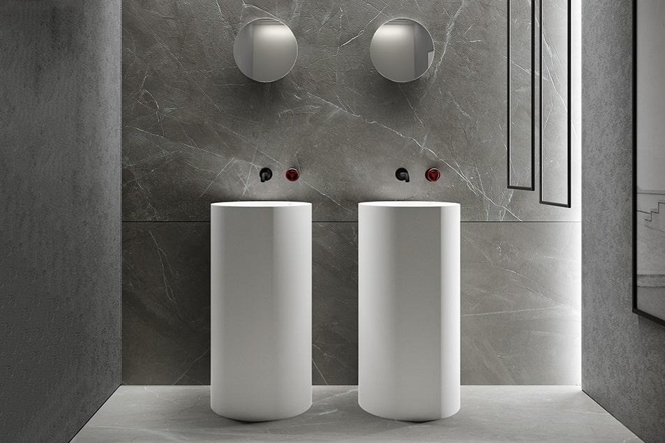 Lavabo a colonna, elemento di design e arredo