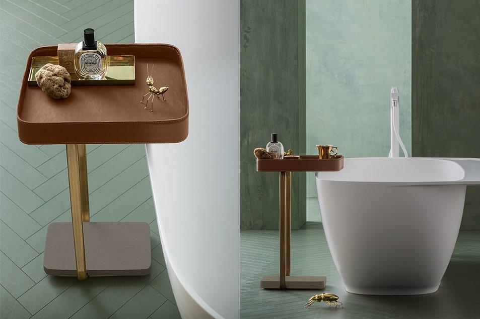 Suede, tavolino portaoggetti per vasca da bagno