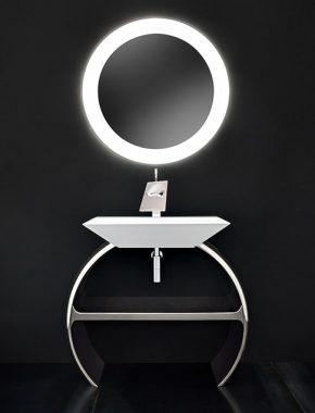Design Moon, una base lavabo unica e inimitabile per questa composizione cromata