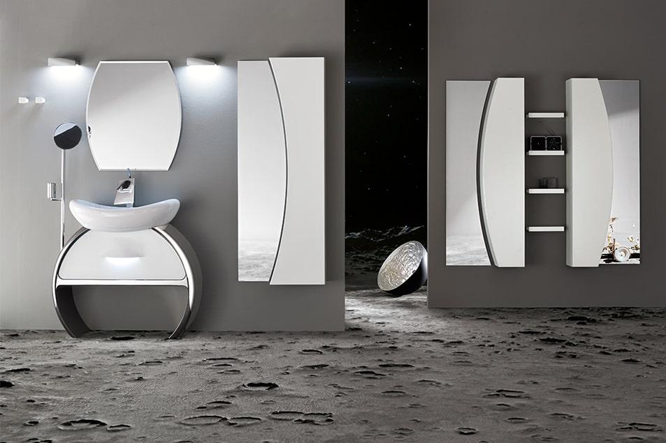 Design Moon Cerasa, base lavabo curva e cromata