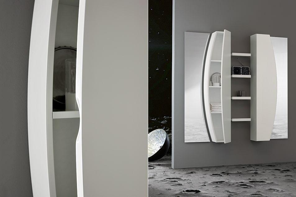 Design Moon, colonne salvaspazio, a profondità ridotta, dotate di comodi ripiani.