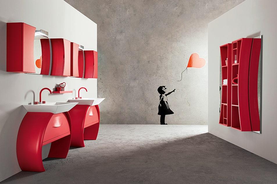 Design Moon Cerasa, full color per la composizione con doppia base lavabo curva