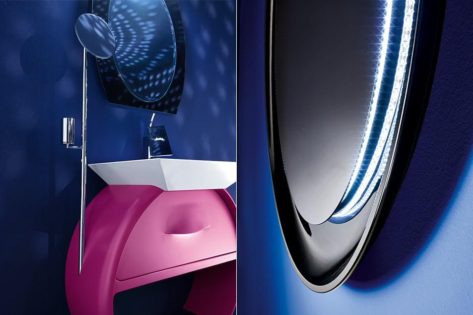 Forme morbide del lavabo Eclissi e quelle più squadrate del lavabo Diamante. Collezione Moon