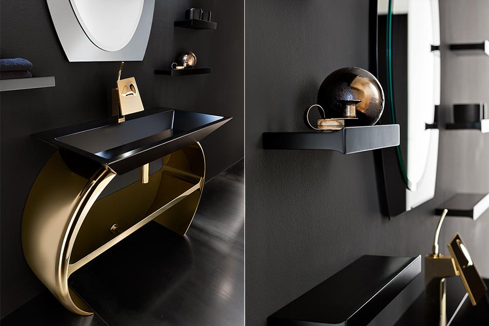 Arredamento esclusivo e di design, particolare Moon, base lavabo curva in finitura Oro