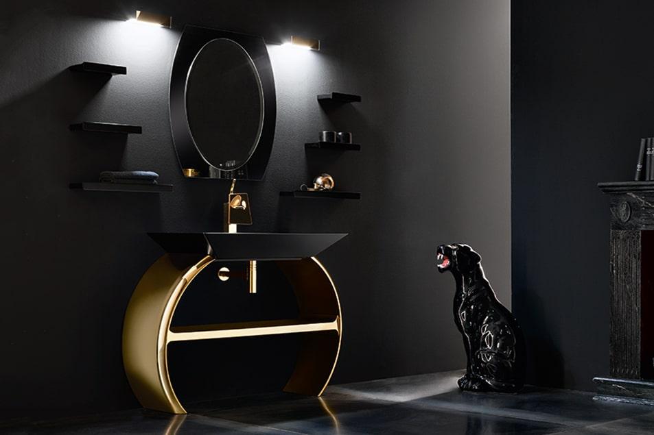 Moon, arredo bagno eclettico, romantico e originale, sviluppo concentrico del mobile lavabo