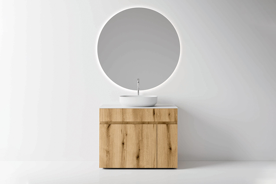 La base lavabo Single, specchio Tondo 2 retroilluminato con diametro di 105 cm.