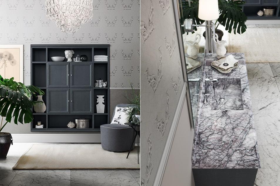 Mobile bianco con piano in marmo Lillac e vasca costruita. Grande specchio inciso con lampade integrate Torcia