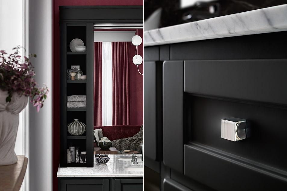 Finitura Nero a contrasto col piano in marmo Bianco Carrara con lavabo sottopiano Nettuno.