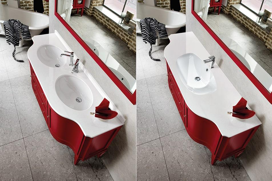 Mobile da bagno con base lavabo ad appoggio su piedini con ante curve, cassetti e piano sagomato con lavabo singolo o doppio.