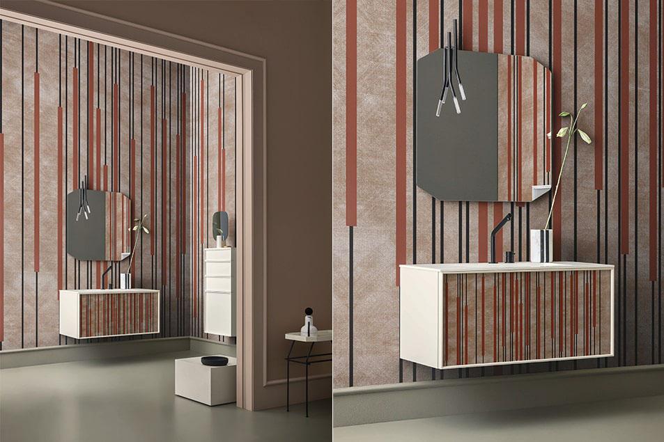 Base lavabo sospesa laccata RAL 1013 e lavabo integrato al piano in Ocritec Bianco Opaco.