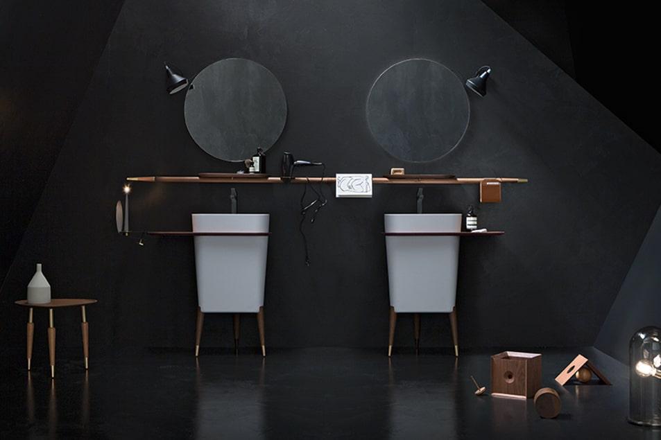Icone Free, soluzione di arredo per il bagno con doppio lavabo
