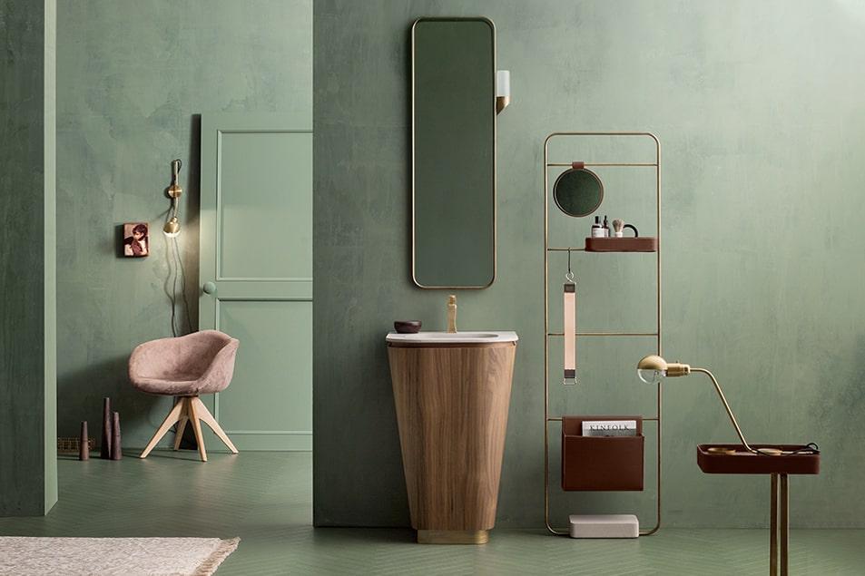 Composizione Suede, lavabo monolite rivestito in legno