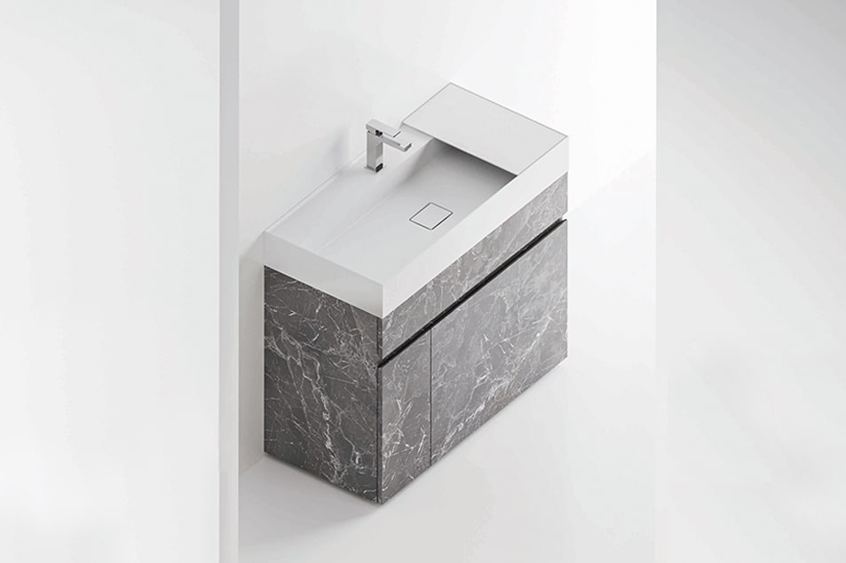 Consolle lavabo Unica in Solid Surface. Base lavabo a terra Single in nobilitato Pietra