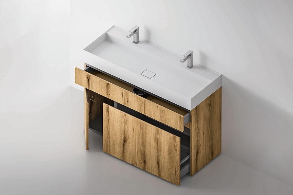 Base lavabo Single, nobilitato Coast con lavabo in appoggio Linea in ceramica bianca.