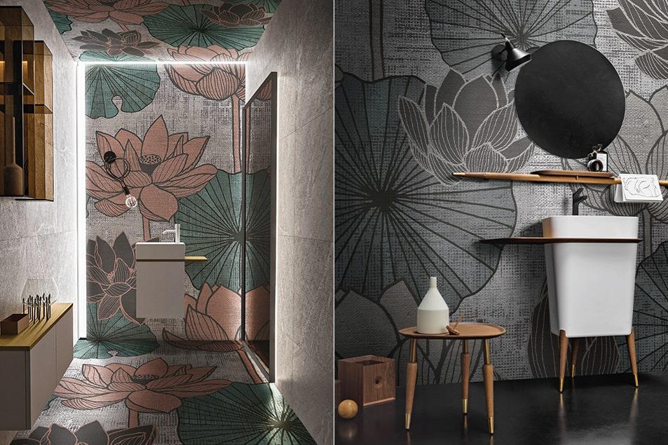Water lily Skinglass, varianti grafiche per le carte da parati