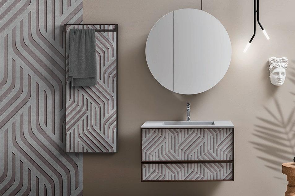 Termoarredo Frame, scaldasalviette con portasciugamano e cassettiera con rivestimento Des abbinato