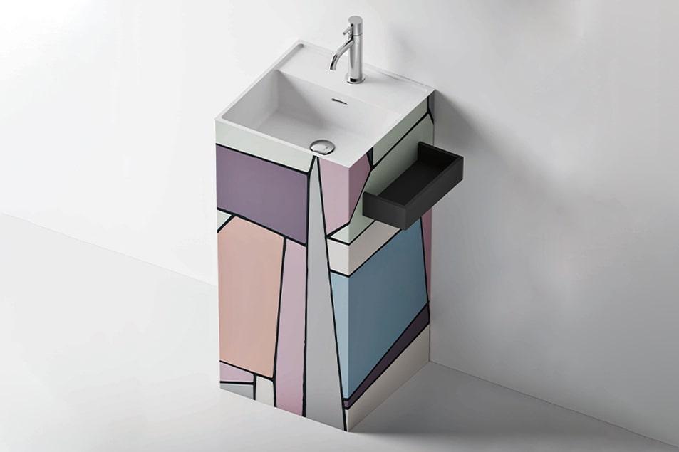 I lavabo arredano, Totem come un quadro astratto alla Mondrian