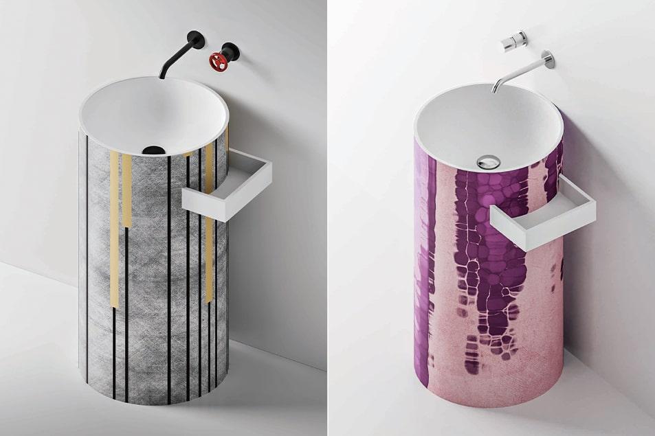 Cerasa, lavabo a colonna, personalizzabili sulla superficie esterna